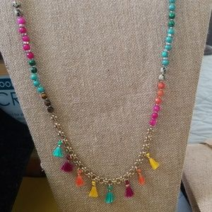Long beaded necklace with fringe detail
